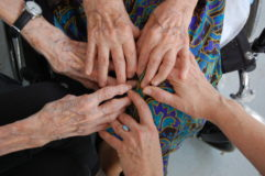 My hands with theirs: my mother's, my aunt's. This picture was taken in 2007. They, and the photographer (David Koff), are gone now from this earth. I remain, for now.