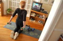 Me, working out in the hall in the home of my late mother, in spring 2013. On the other side of those French doors, she lay sleeping, in the last months of her life.