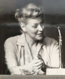 Portrait of a young writer-editor... Charlotte, my late mother, on the dais at a writer's conference in the '50's.