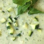 COOL HAND CUKE: CUCUMBER-YOGURT SOUP WITH MINT, & GRAPES,  WITH A VEGAN VARIATION.